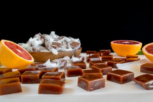 soft and chewy blood orange caramels