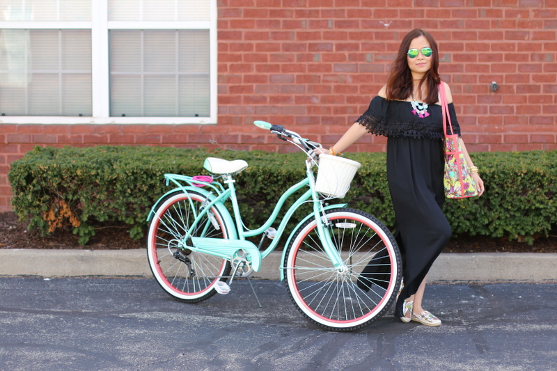 sakroots artist circle XLG tote, ella flat espadrille, bike, black dress, spring break essentials