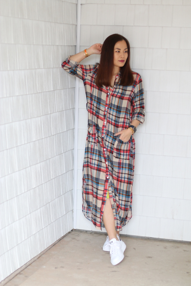Stan-Smith-Double-Sole-sneakers-shein-plaid-dress-6