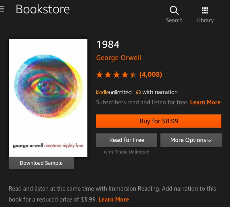 Kindle Unlimited books that you should be reading and listening now - 1984 by George Orwell