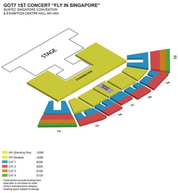 GOT7 1st Concert 'Fly in Singapore' Seating Plan