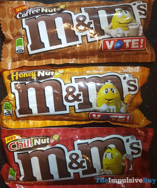 M&M's Flavor Vote (Coffee Nut, Honey Nut, and Chili Nut)
