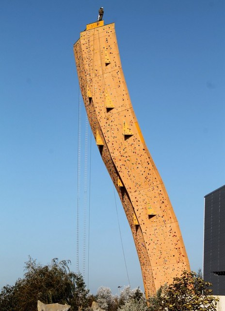 Excalibur Groningen climbing tower Netherlands with officer on top