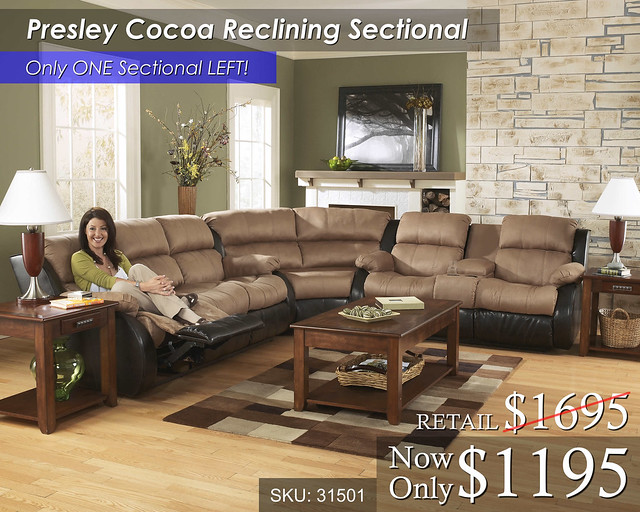 Presley Cocoa Reclining Sectional LAST ONE