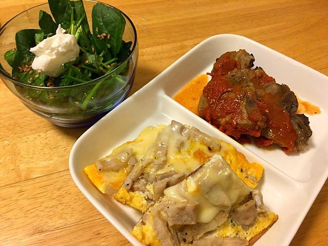 豚バラトリニティとラムのトマトソース
