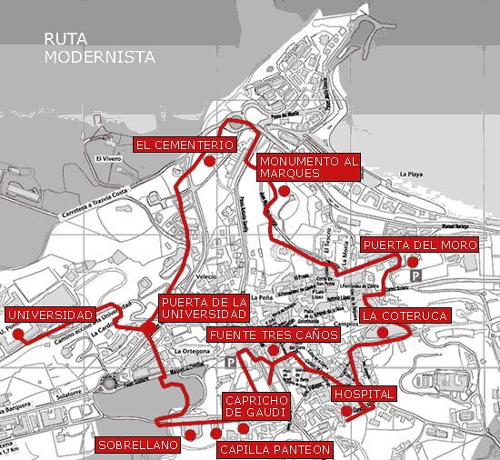 Mapa de la ruta modernista Comillas