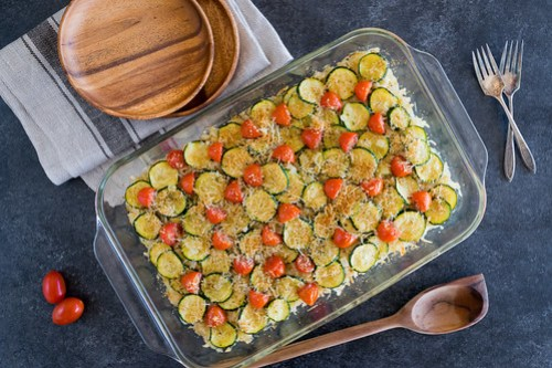 easy zucchini and brown rice gratin