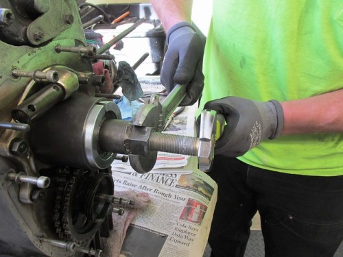 Using Crescent Wrenches to Remove Crankshaft Sprocket and Nose Bearing