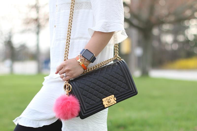 chanel boy bag, hermes H bracelet, apple watch