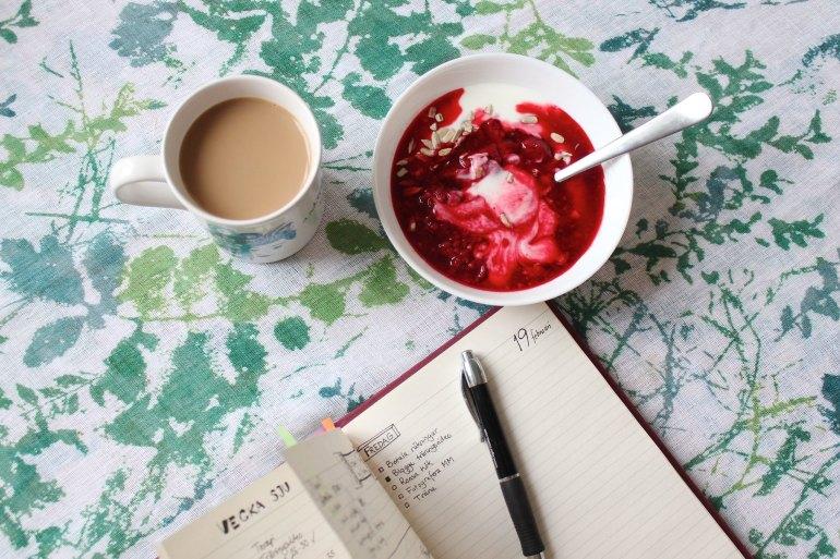 Bullet journal and breakfast