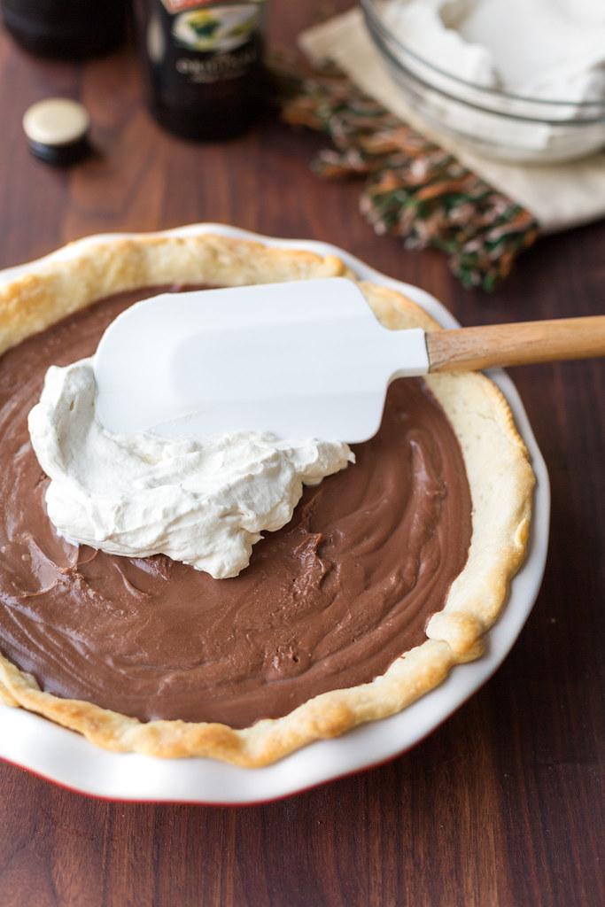 irish cream whipped cream on chocolate stout pie