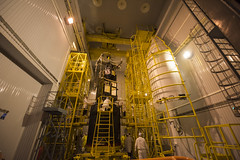 Sentinel-3A being encapsulated within its Rockot fairing