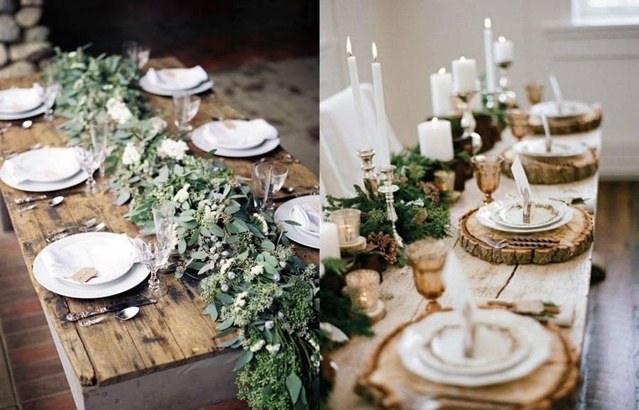 decorar una mesa-eucalipto-madera-comida-amigas-ideas