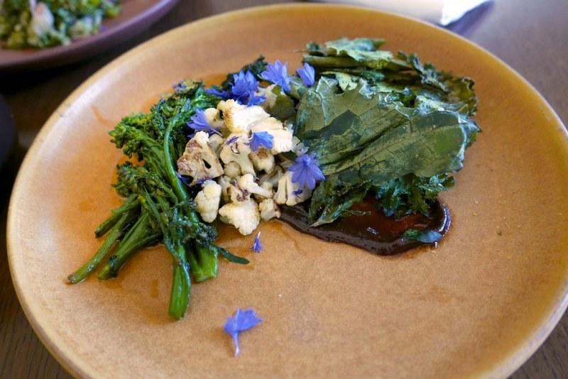 Brassicas (broccolini, cauliflower, kale), five spice, micro greens