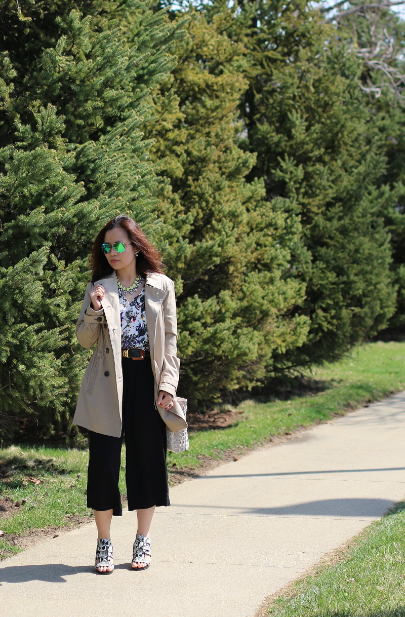 easter outfit, trench coat, black culottes, floral blouse