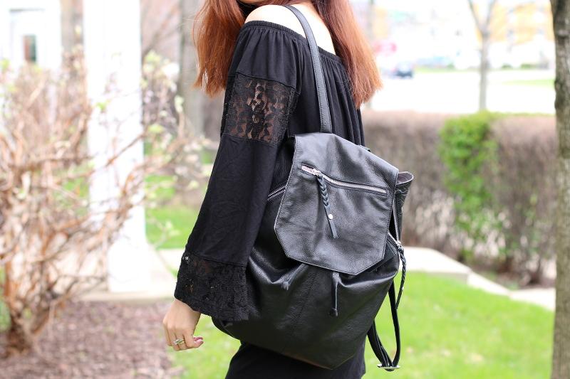 day and mood fleur backpack, bag, lace off shoulder romper