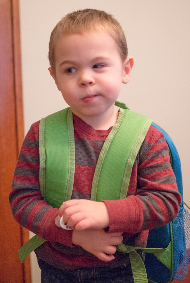 Micah's first day of preschool