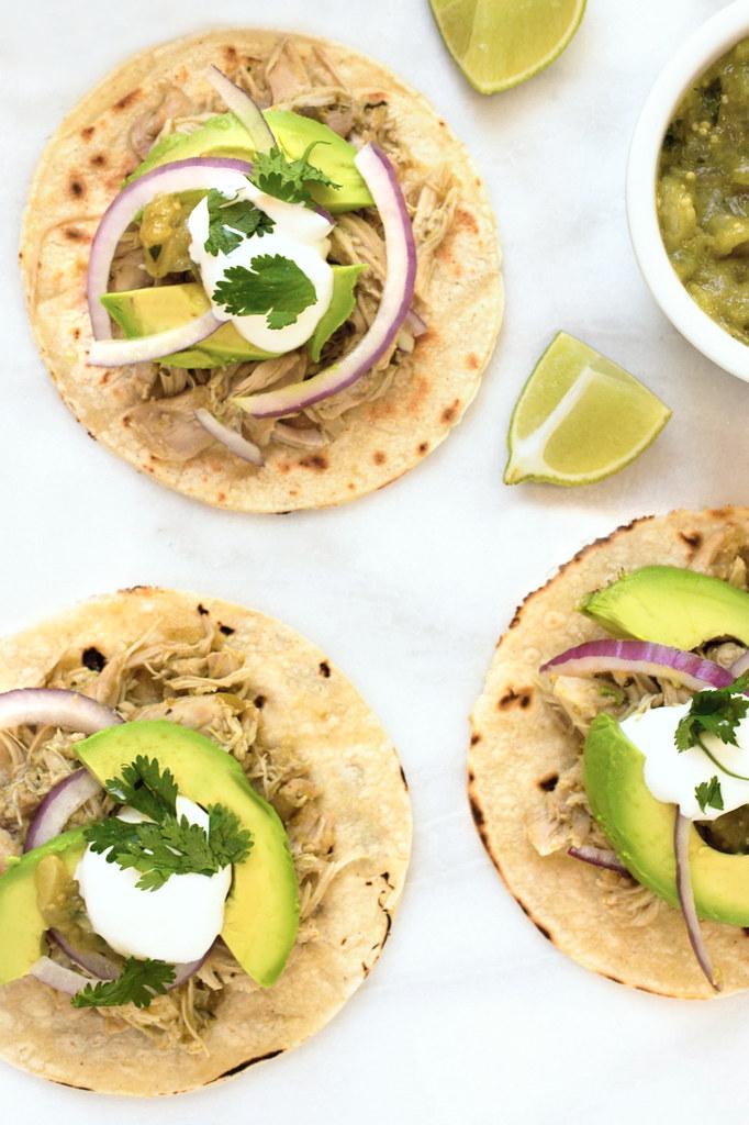 Slow Cooker Chicken Tomatillo Tacos