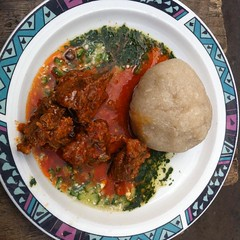Here I go again with a hearty breakfast of eba with ewedu and okra soup.   Back in the day my mom woulda kicked my ass for eating street food.