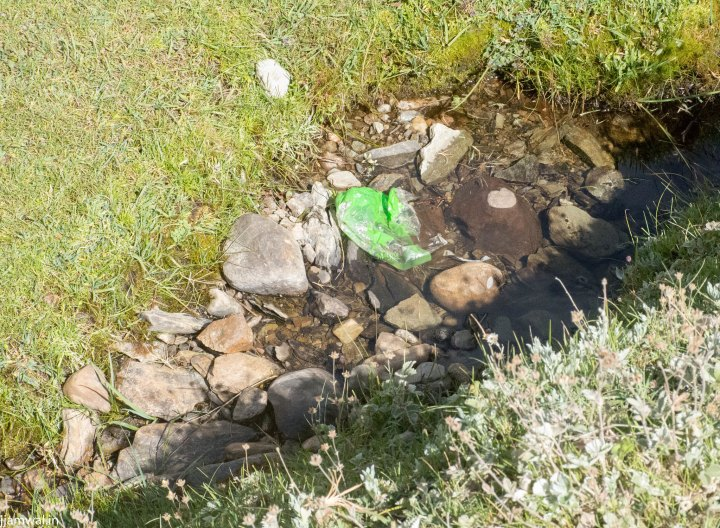 Lots of plastic and other waste like this in water sources for the campsites.