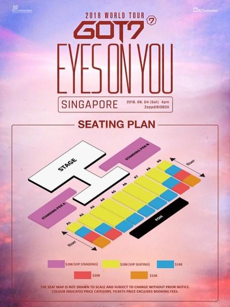 GOT7 'EYES ON YOU' WORLD TOUR IN SINGAPORE SEATING PLAN