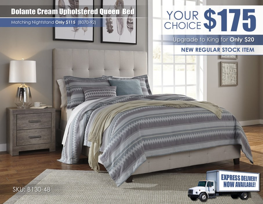 Dolante Cream Upholstered Queen Bed_B130-481-B070-92_SPECIALnew
