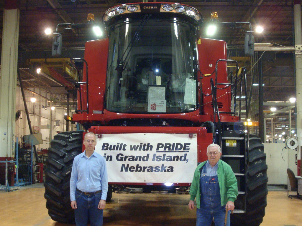 New combine in the assembly line, George and David Rahn