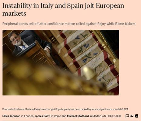 18e26 Instability in Italy and Spain jolt European markets Uti 465