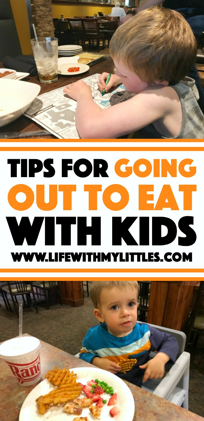 Going to a restaurant with young kids doesn't have to be stressful! Here are ten tips for eating out with kids that will make it easier!