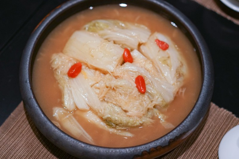 braised white cabbage at yellow pot