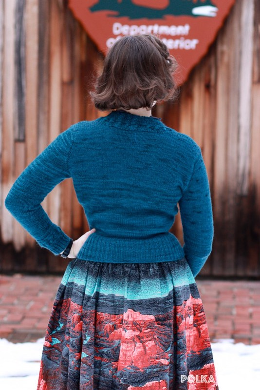 """Quick To Knit"" cardigan & Millworth's Grand Canyon skirt"