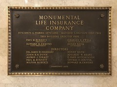 Bronze wall plaque, Chase Brexton Health Care/Former Monumental Life Building (1926), 1111 N. Charles Street, Baltimore, MD 21201