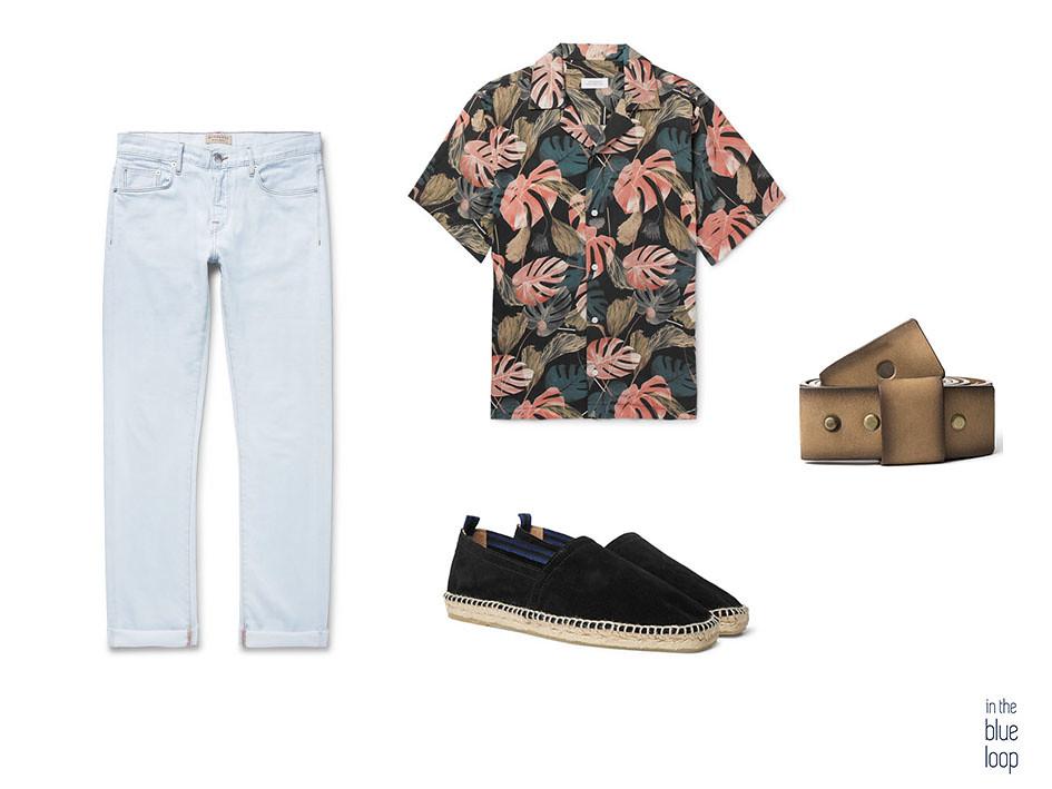 Look masculino con vaqueros, camisa estampado florar, alpargatas y cinturón Famara de blue hole men
