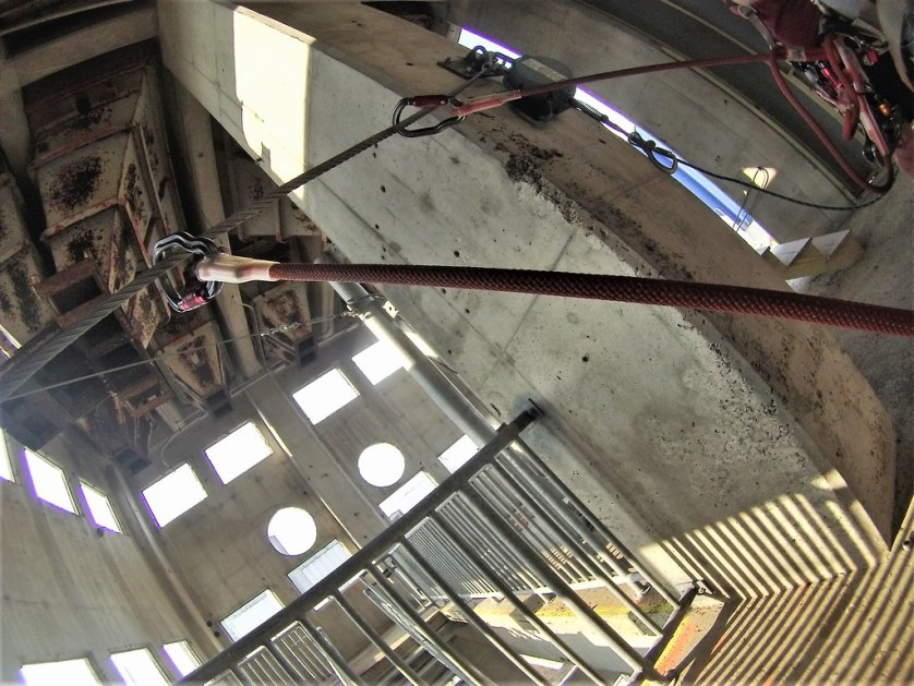 Inside an Old Grain Elevator and Safely Clipped to the Cable While Ziplining at Buffalo RiverWorks, the Old Grain Silos, Buffalo, N.Y., Aug. 15, 2018
