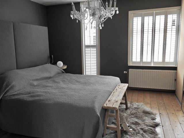Shutters slaapkamer grijs landelijke stijl