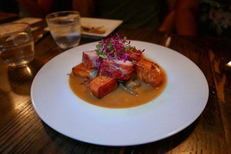 Coniglio - Prosciutto wrapped rabbit loin, mushrooms, pork belly, leeks, fontina, crispy polenta, truffle jus