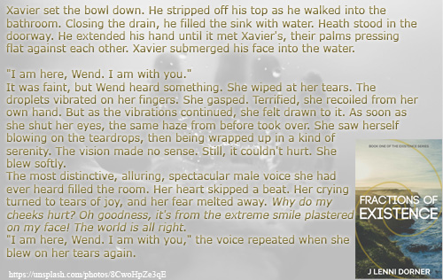 Voice in Tears quote from Fractions of Existence #book by @JLenniDorner #Myth #Novel #read #NaNoProMo