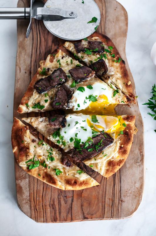 Steak and Egg Flatbread Pizza