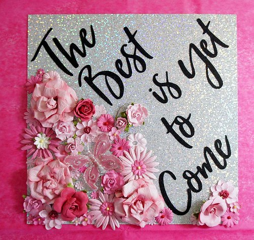 Graduation Gifts : The Best is Yet to Come. Custom Flower and Glitter Graduation Cap Decoration an…