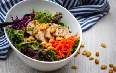 نتيجة بحث الصور عن Grilled Chicken with Tomato- Cucumber Salad