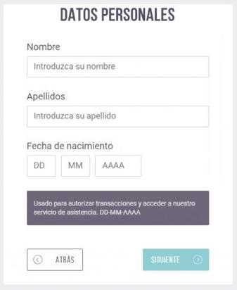 Datos personales formulario Skrill