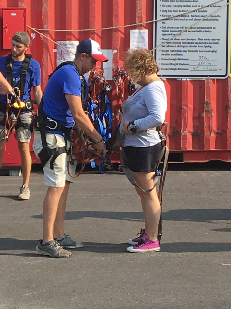 Putting on My Harness Before the Zip Line at Buffalo RiverWorks, the Old Grain Silos, Buffalo, N.Y., Aug. 15, 2018.