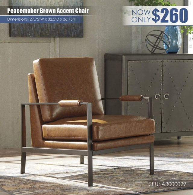 Peacemaker Brown Accent Chair_A3000029