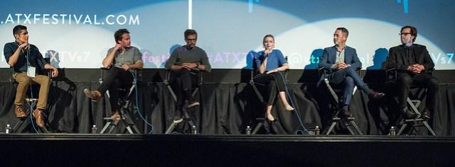 Moderator Patrick Gomez, Taylor Kitsch, Paul Sparks, Julia Garner, Drew Dowdle and John Erick Dowdle