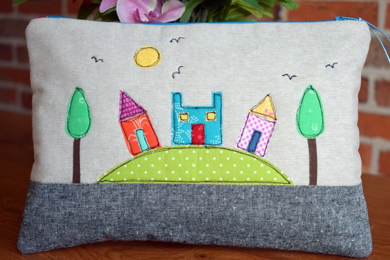 Wee Coloured Houses Pouch (birthday gift)