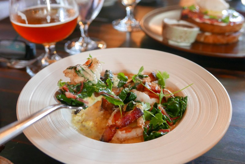 Shrimp & Grits, Red eye gravy, swiss chard, lardons $16