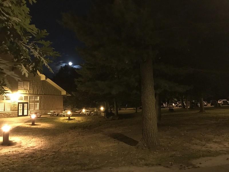 Moon behind Starved Rock Lodge