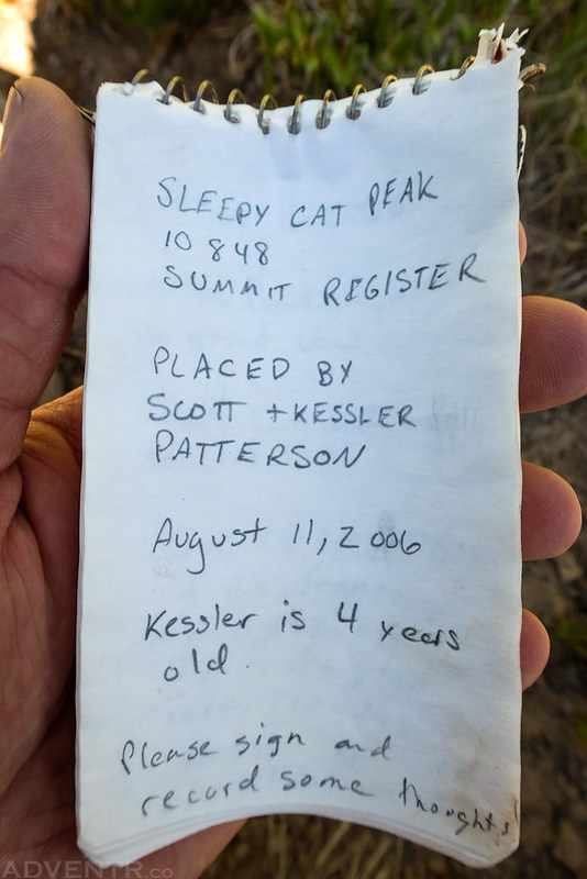 Sleepy Cat Peak Register