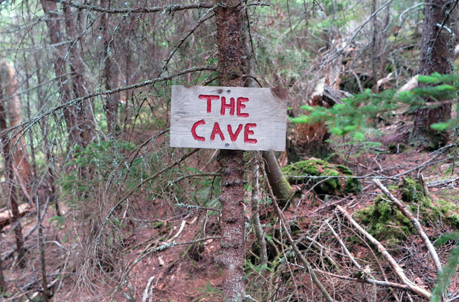 Bigelow Range Trail Cave Sign
