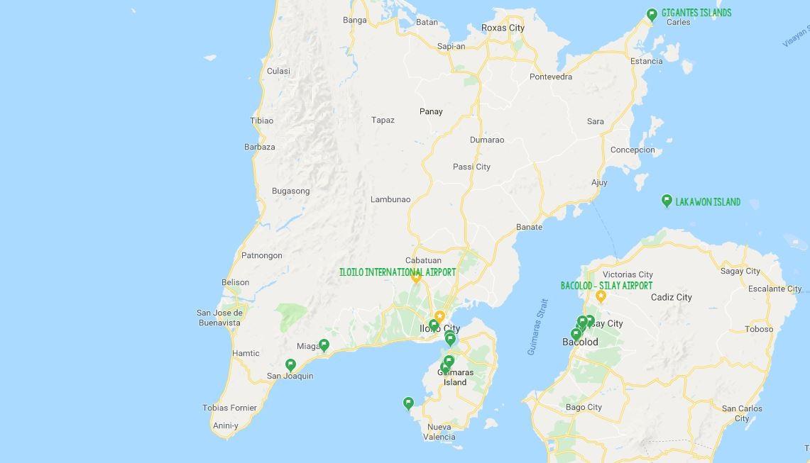 Bacolod iloilo Guimara map